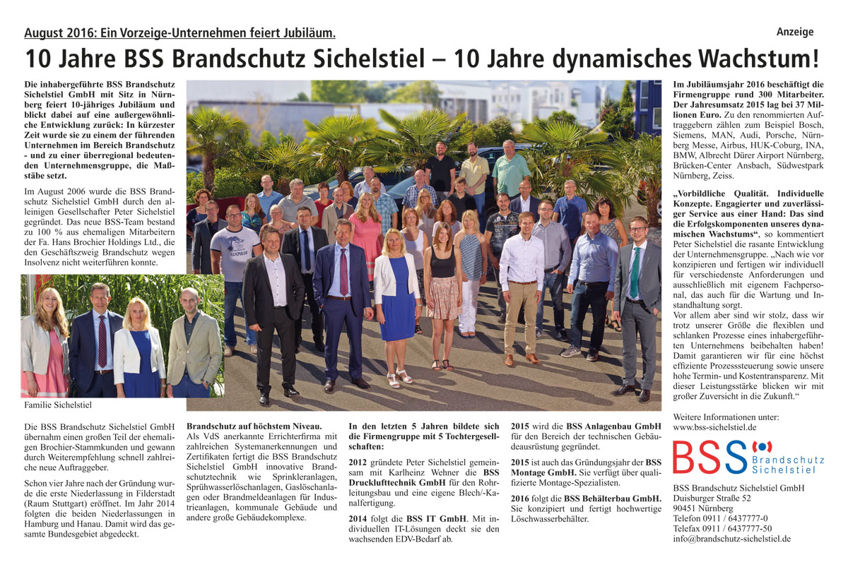 10 Jahre BSS Brandschutz Sichelstiel GmbH