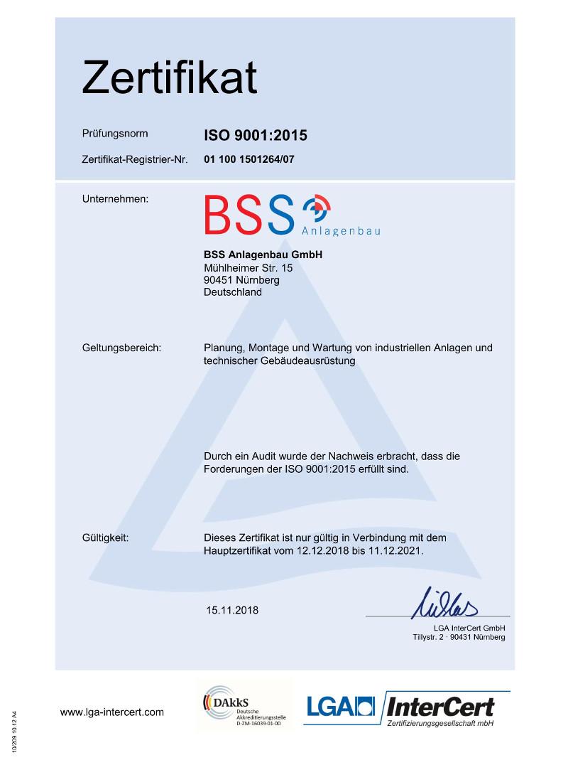 Zertifikat Qualitätsmanagement - Anlagenbau