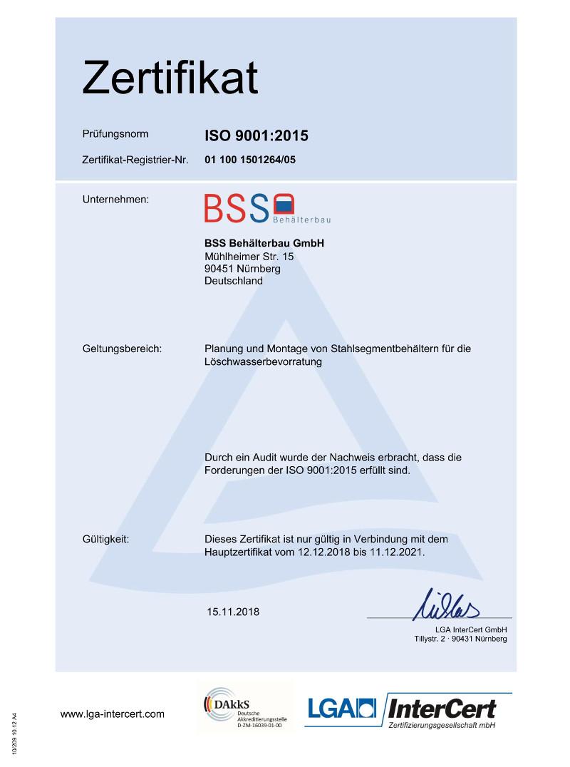Zertifikat Qualitätsmanagement - Behälterbau