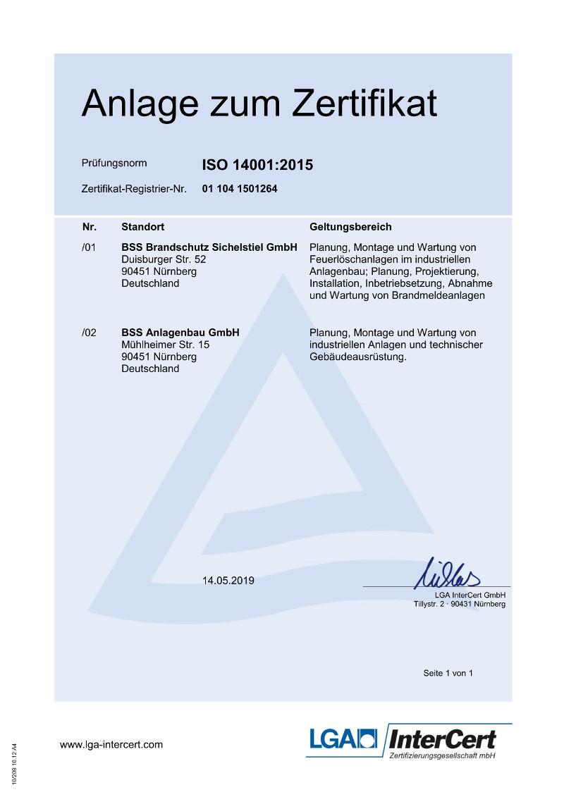 Zertifikat Umweltmanagement - Anlage