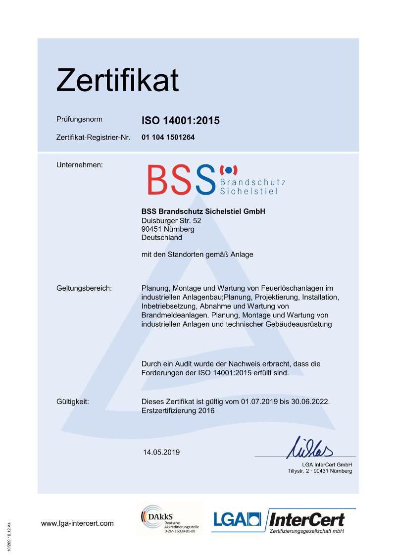 Zertifikat Umweltmanagement - Brandschutz