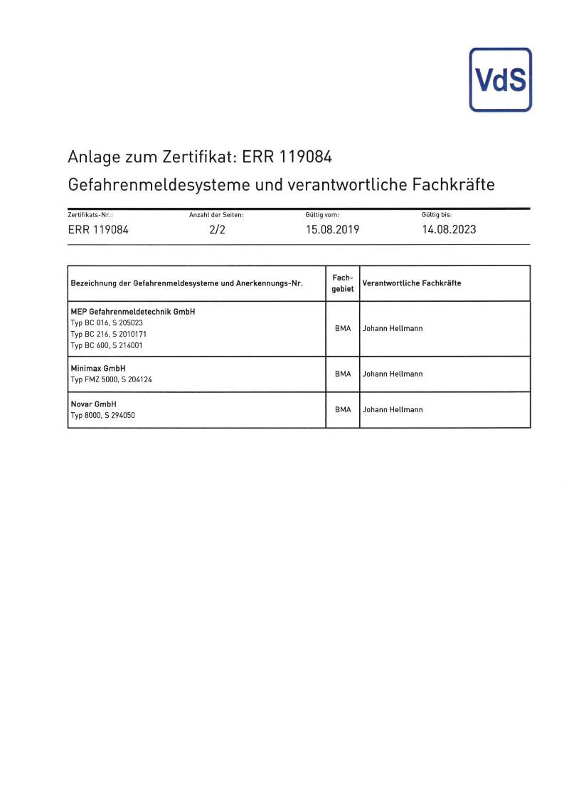 VDS-Zertifikat-Anlage-Anerkennung-Errichterunternehmen-Gefahrenmeldeanlagen