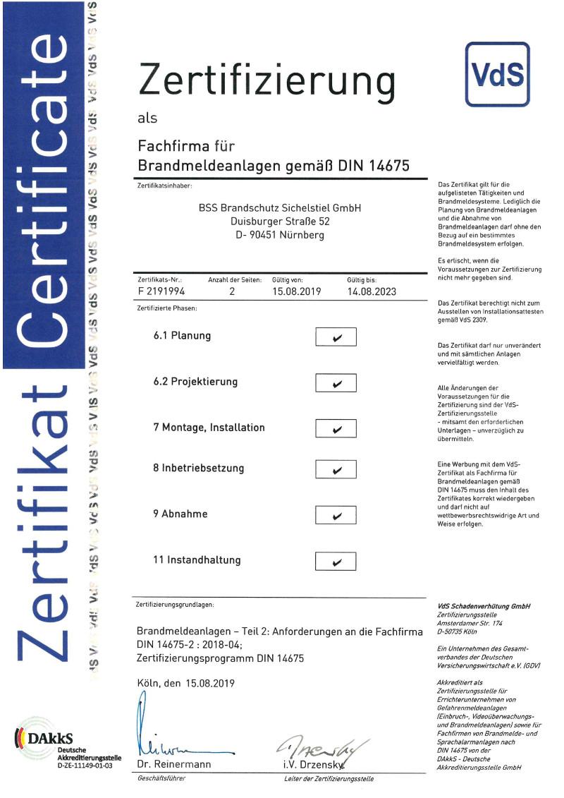 VDS-Zertifizierung-Fachfirma-Brandmeldeanlagen-DIN14675