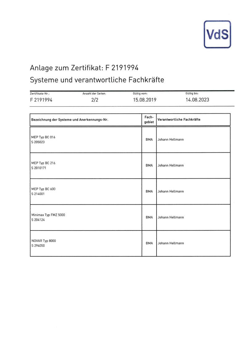 VDS-Zertifikat-Brandmeldeanlagen-Anlage